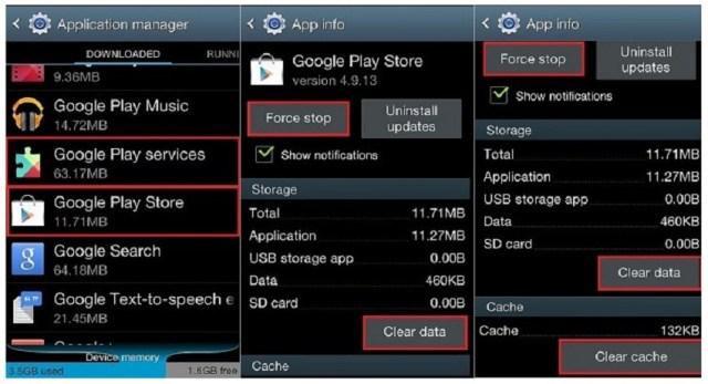 Google Play Store, error RH-01