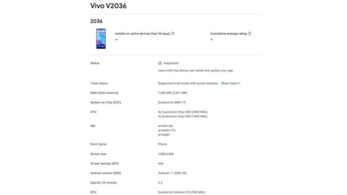 Daftar Google Play Console Yang Berisi Spesifikasi Vivo Y31