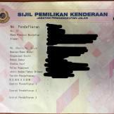 Geran kereta daripada JPJ. Perlu bayar RM50 sebab tiada geran original di bank.