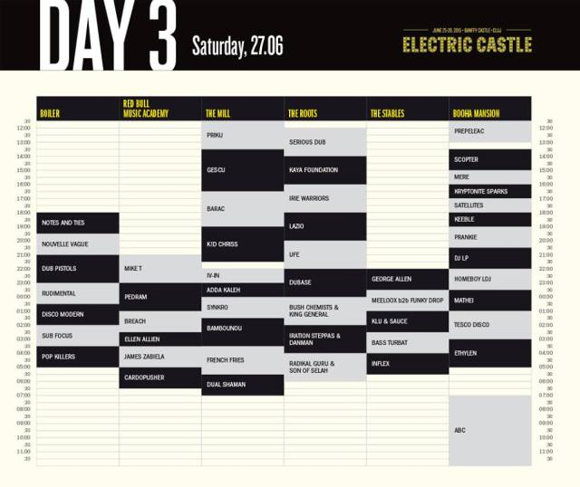 Electric Castle 2015 - program ziua 3