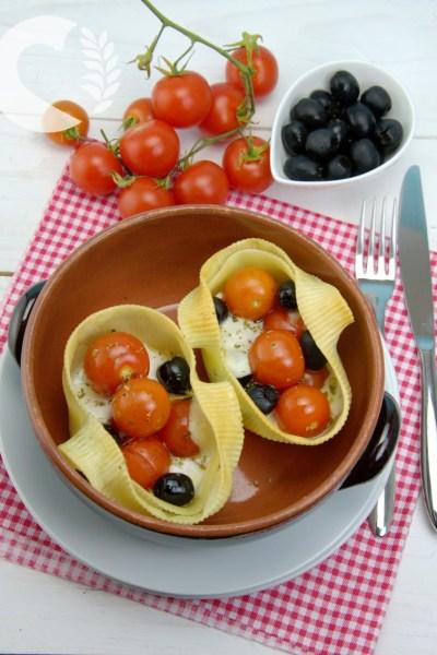 Caccavelle senza glutine ai pomodorini e olive