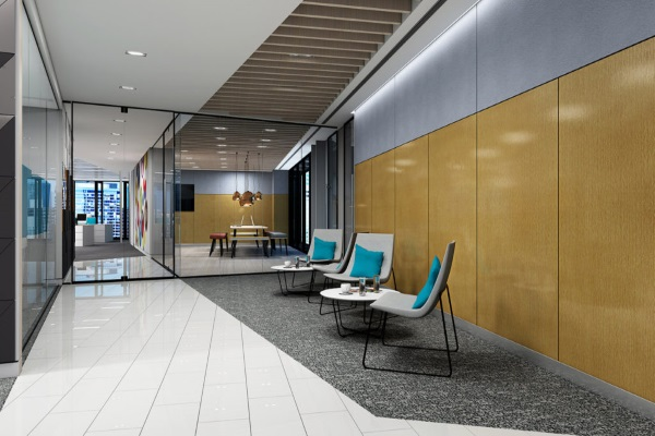 Acoustic wall panels in an office