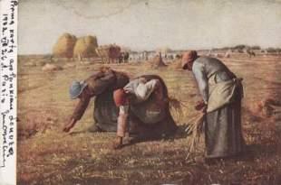 """Atvirukas su Jean-François Millet paveikslo """"Varpų rinkėjos"""" reprodukcija ir Juozo Miltinio parašu"""