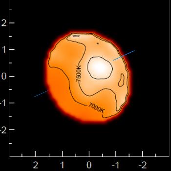 A superfície da estrela Altair mostra variações de temperatura acentuada. A enorme velocidade de rotação torna toda a estrela fortemente achatada (eixo de rotação assinalado em azul). Norte em cima, medidas em milissegundos de arco. Crédito: Monnier et al. 2007, Univ. de Michigan/ GRM