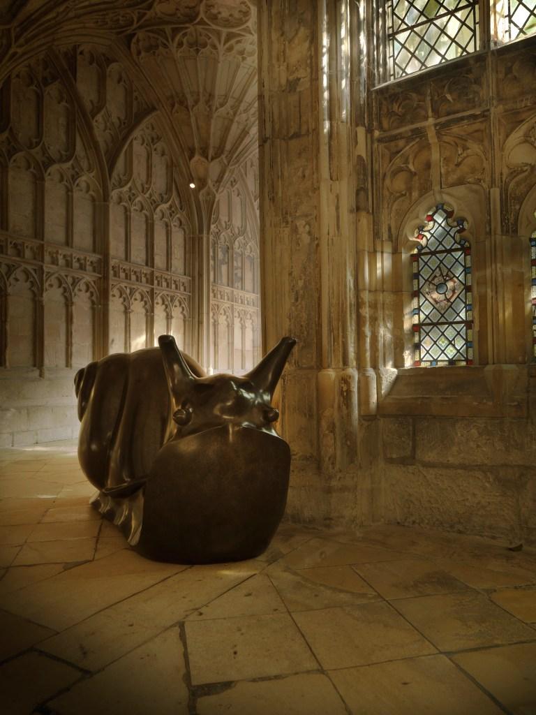 'bronze' snail 'sculpture' by 'artist' Michael Cooper, 'cast' at Pangolin Editions