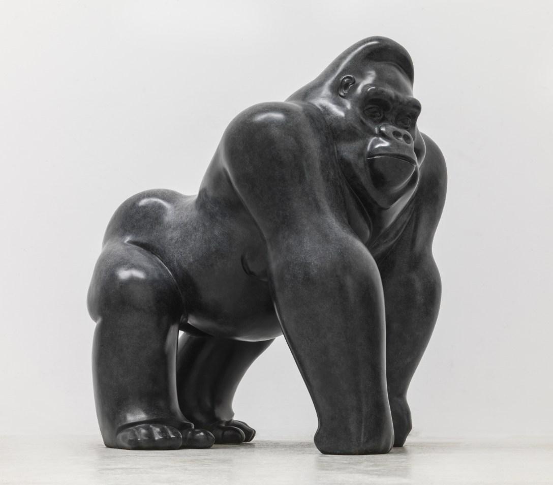 'Bronze' 'sculpture' of a gorilla by artist Michael Cooper at Pangolin Editions