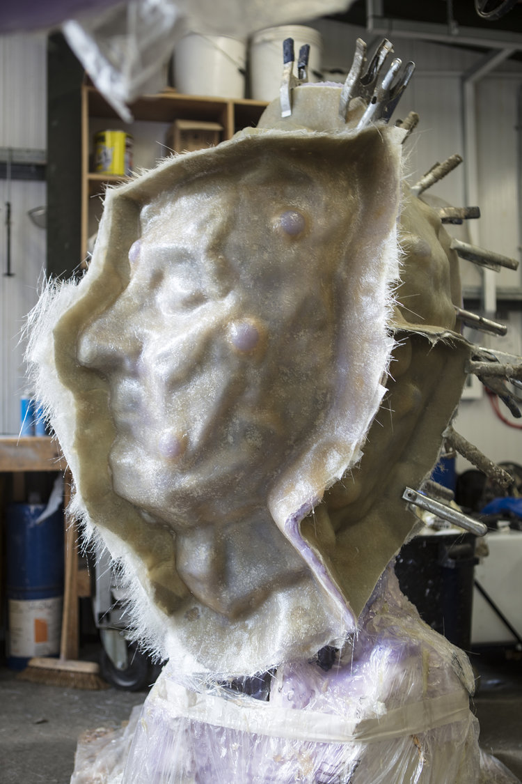 'fiber glass' mold of Jonathan Yeo's 'sculpture' for 'lost wax' 'casting'