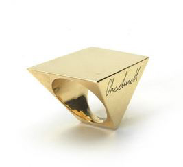 'Gold' ring by 'Lynn Chadwick' 'cast' 'Jewelry' by Pangolin Editions