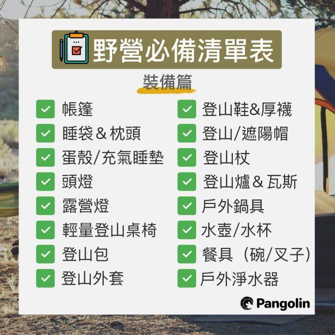 登山裝備清單