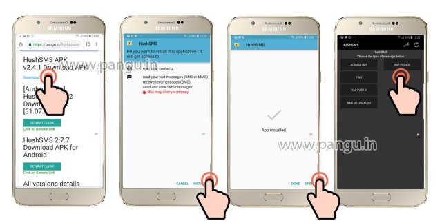 Samsung Galaxy A7 A7 Plus (2018) V8.0 Frp Lock Remove google account done install hushsms in frp locked mobile