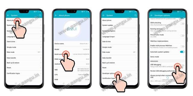 Enable developer option Huawei Honor 8X JSN-L22