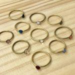 真鍮のリング スワロフスキー付き … 各¥800