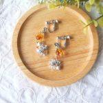 No.79 ビンテージチェコビーズのイヤリング … ¥1,750 (大きさ:金具下3.0cm)(ねじバネ式) (チェコビーズ二種・メタルビーズ等)