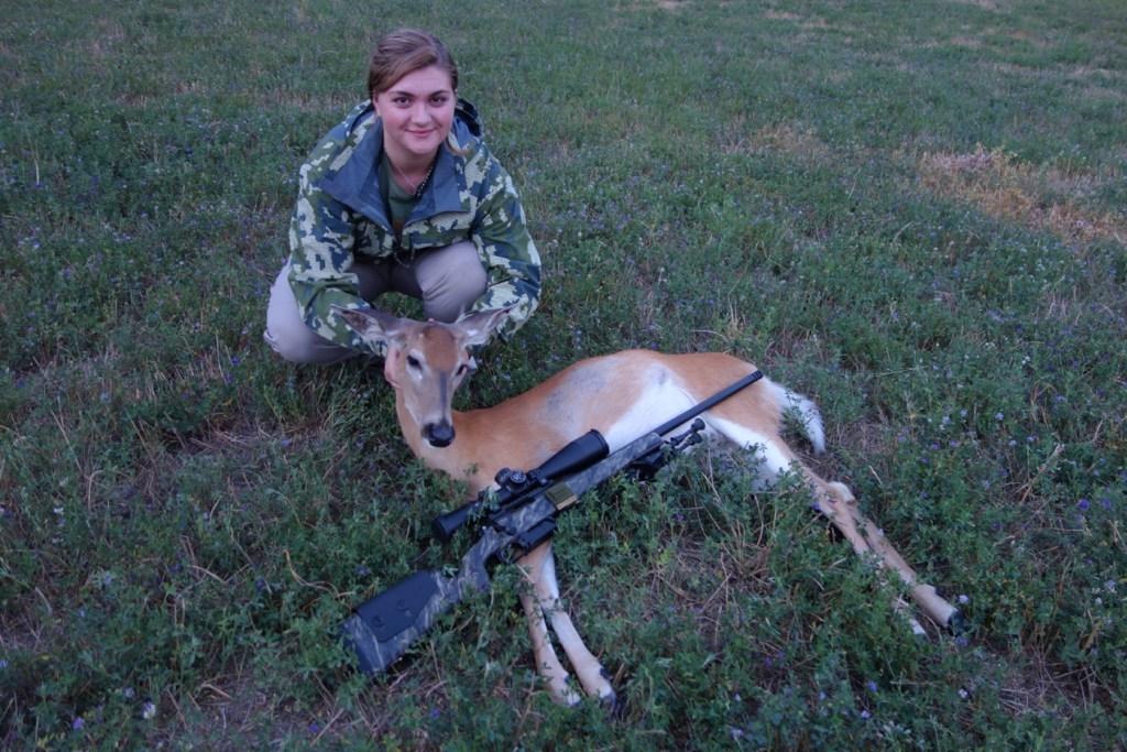 Jessica with a depredation hunt doe.
