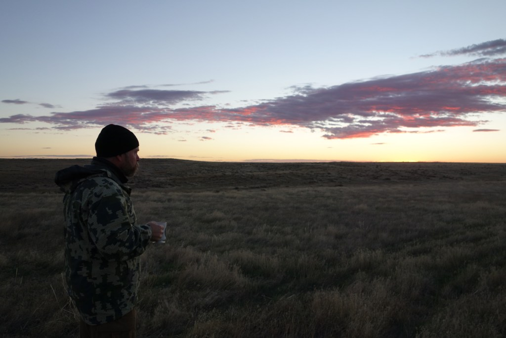 Sam Drinking Coffee Wyoming Sunrise 2016