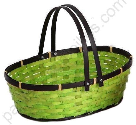 panier ovale en bambou teinte vert bord marron tresse anse mobile 33x22x10 cm