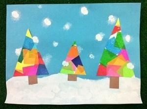 zimowe prace plastyczne - kolorowe choinki