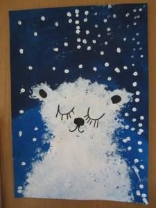 zimowe prace plastyczne miś polarny