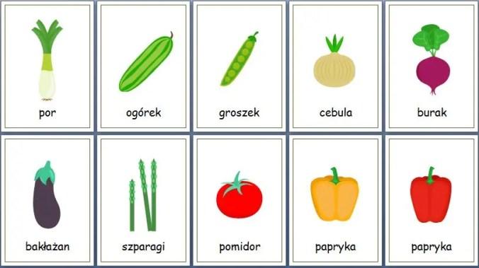 owoce i warzywa karty obrazkowe