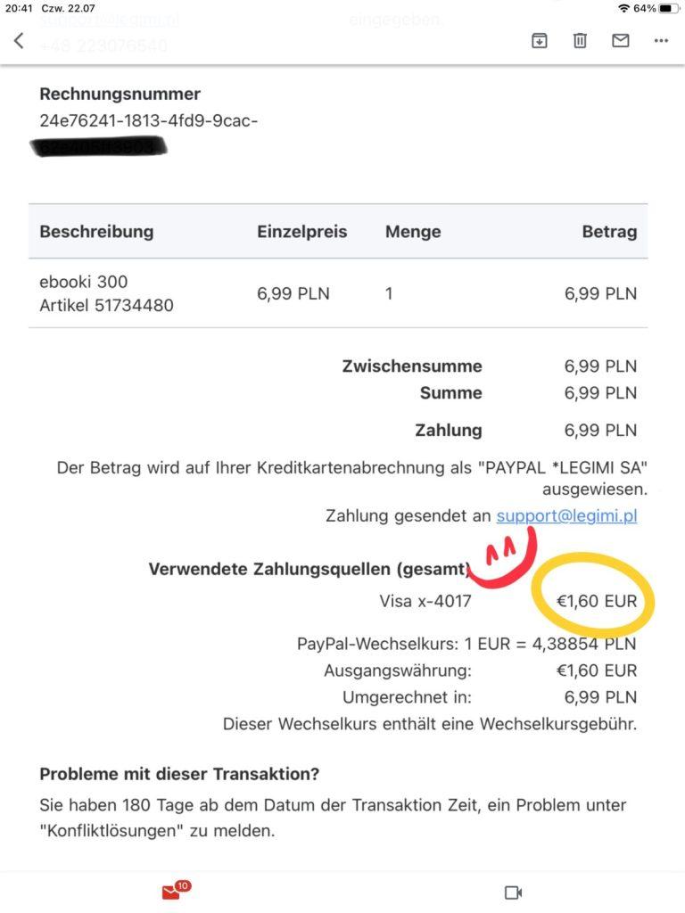 Cena pakietu eBook 300 przeliczona z PLN na Euro