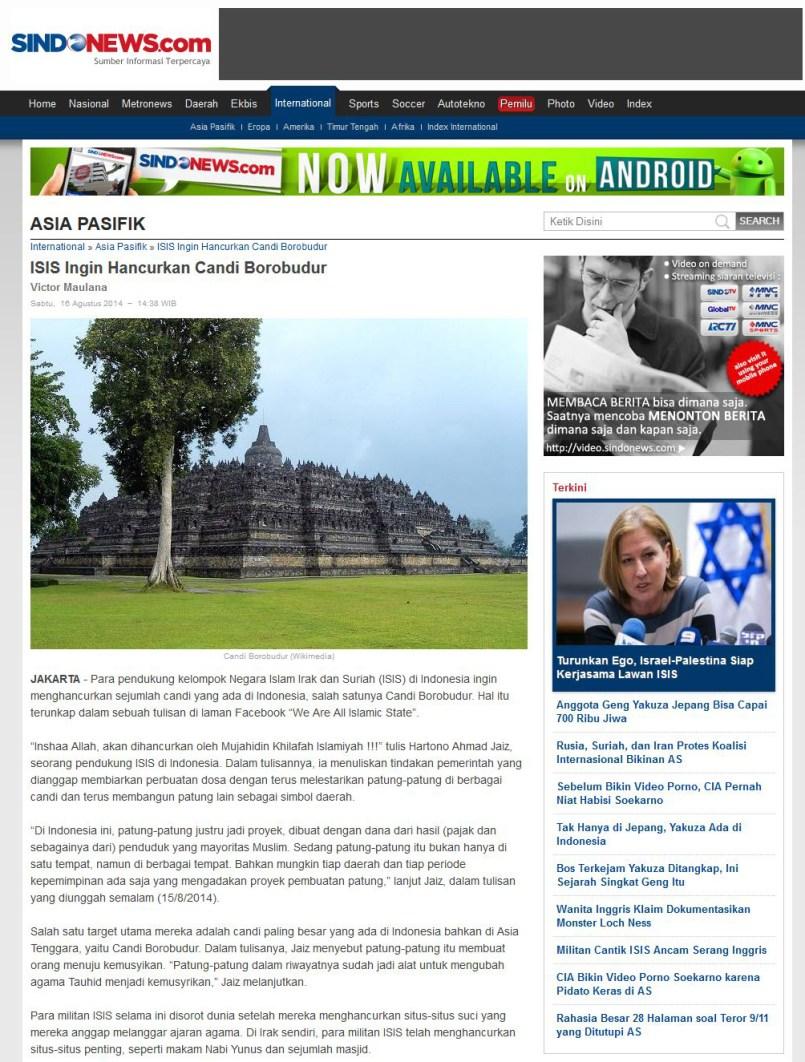 Sindo Berita ISIS ancam Borobudur