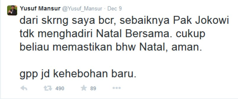 Yusuf Mansur sarankan Jokowi tak Hadiri Natal 1