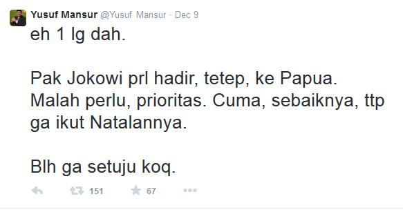Yusuf Mansur sarankan Jokowi tak Hadiri Natal 2