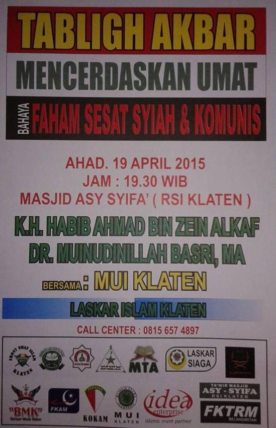 Poster Tabligh Akbar soal Syi'ah & Komunis di KLaten