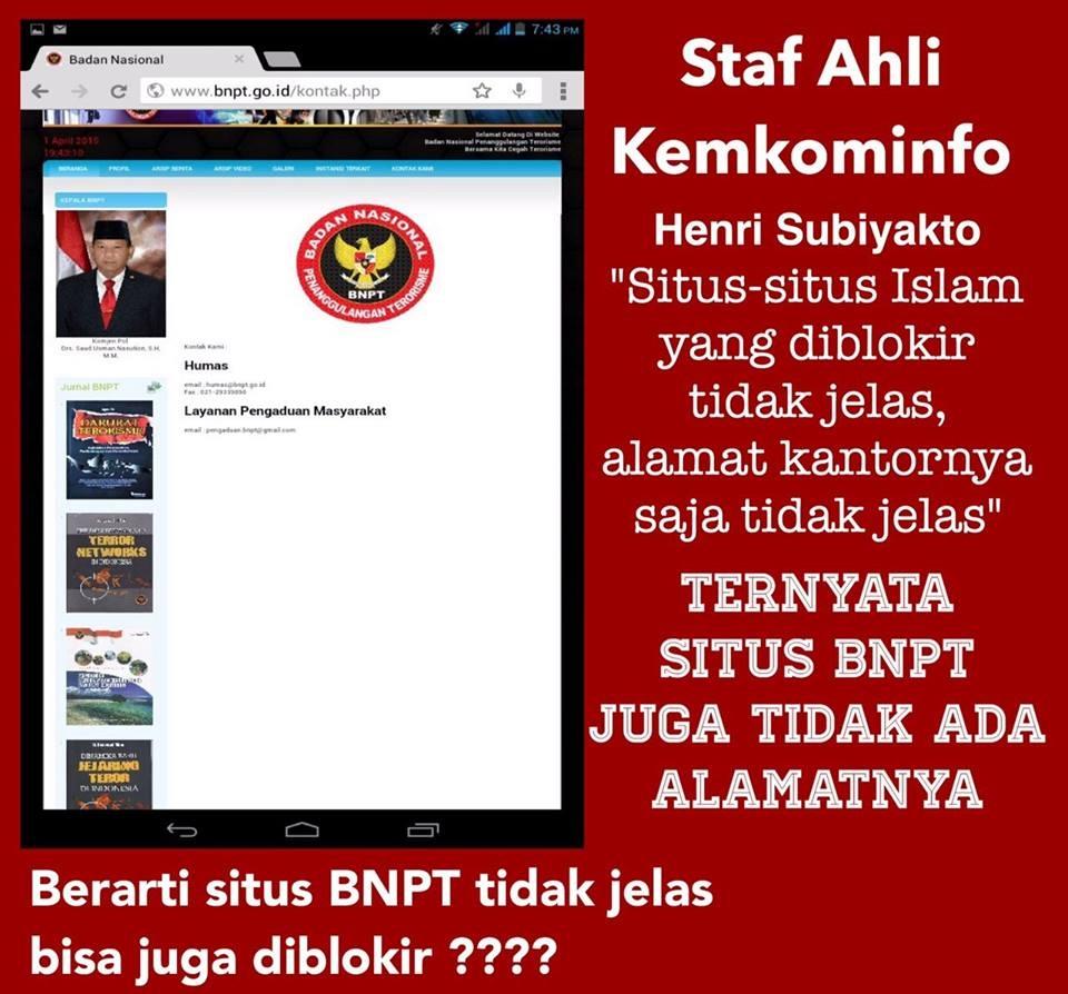 Situs Web BNPT Ternyata Tak Ada Alamatnya