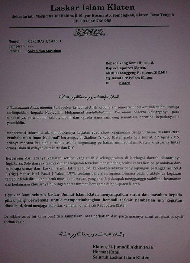 Surat Penolakan LAKIK terhadap acara Kebaktian Pembaruan Iman