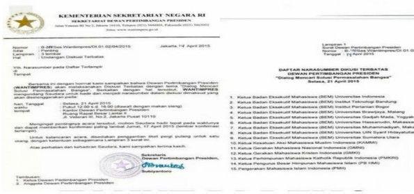 Surat Wantimpres kepada Mahasiswa BEM