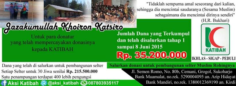 KATIBAH Serahkan Bantuan kepada Muslim Rohingya di Aceh
