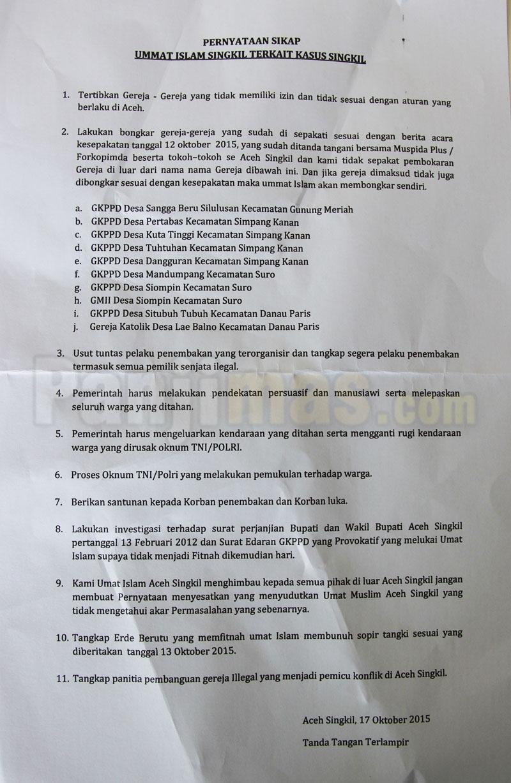 Pernyataan Sikap FUI Aceh Singkil