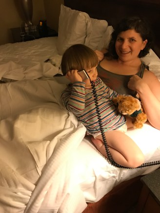 "2:30 a.m. hijinks. I have no idea where she learned how to do this, or even what a landline phone is, but she grabbed the receiver of our hotel room phone and put it to her head, and said, ""HELLO? HELLO?"""