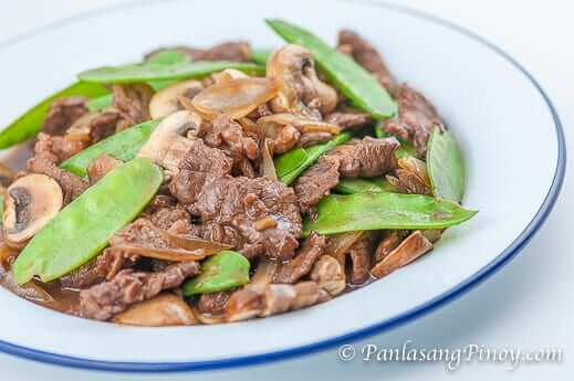 5+ Asian Beef with Mushrooms and Snow Peas