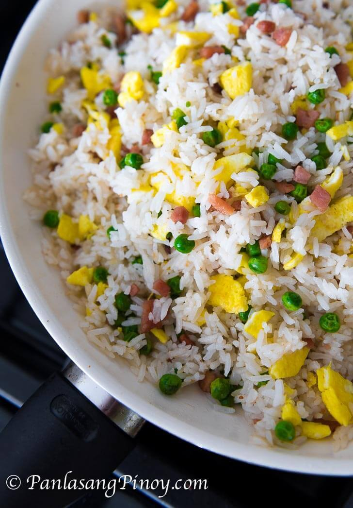 Ham and Egg Fried rice with Sweet Peas Recipe