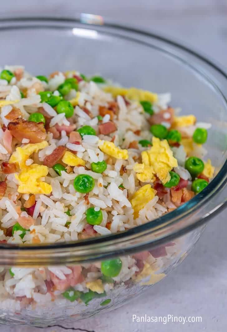 ham and egg fried rice with green peas recipe
