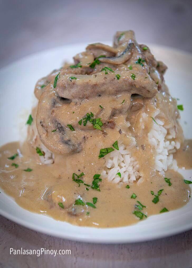 beef stroganoff recipe with rice