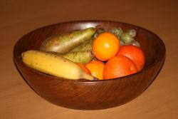 Lathe-turned wooden fruit bowl