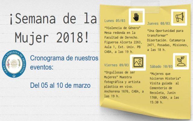 Actividades de La Gran Logia Femenina de Argentina en el marco de La Semana de la Mujer