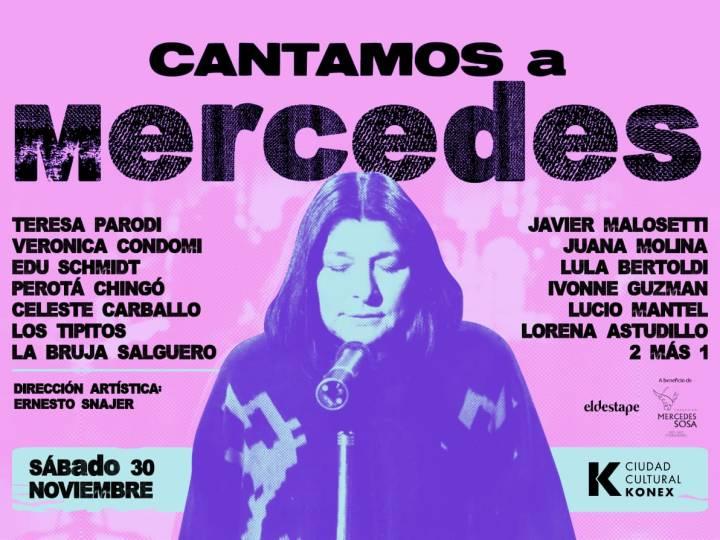 """""""Cantamos a Mercedes"""" con Javier Malosetti, Juana Molina, Lula Bertoldi; Los Tipitos y otros en el Konex"""