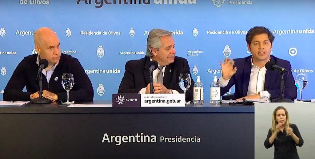 Alberto Fernández, Axel Kicillof y Horacio Rodriguez Larreta