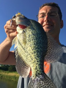 An excellent Black Crappie caught from the new dock. 15 inches!