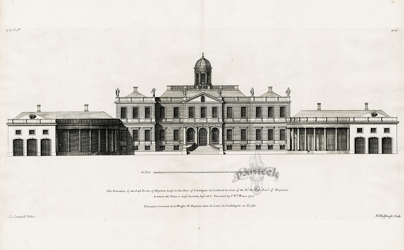 The Elevation of the East Front of Hoptone house in the