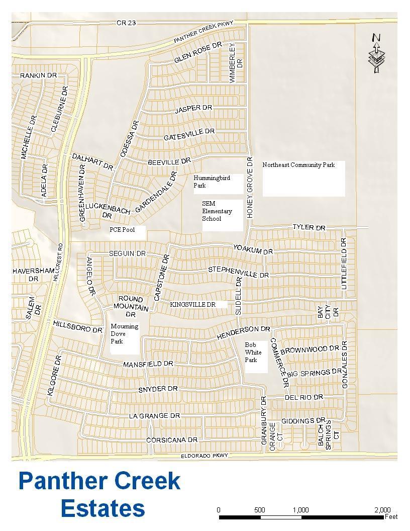 Map of Panther Creek Estates