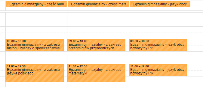 Terminy maturalne w kalendarzu