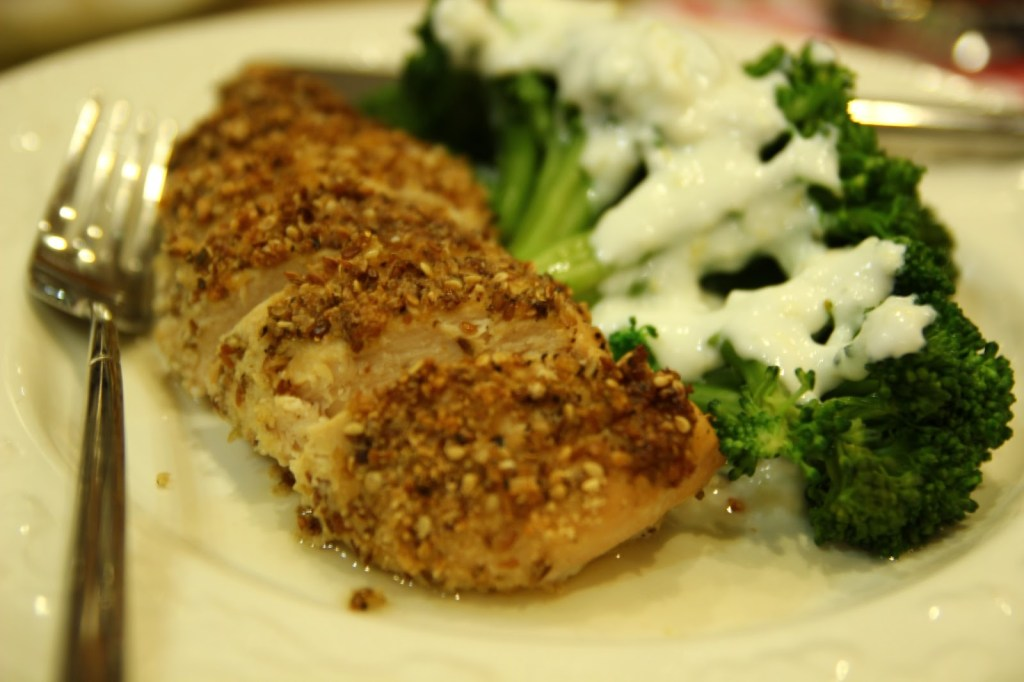 seed-crusted chicken