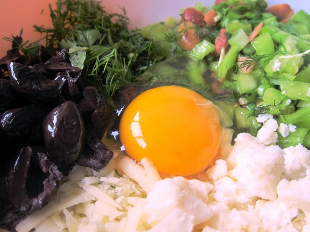 ingredients for olive bulgur tart