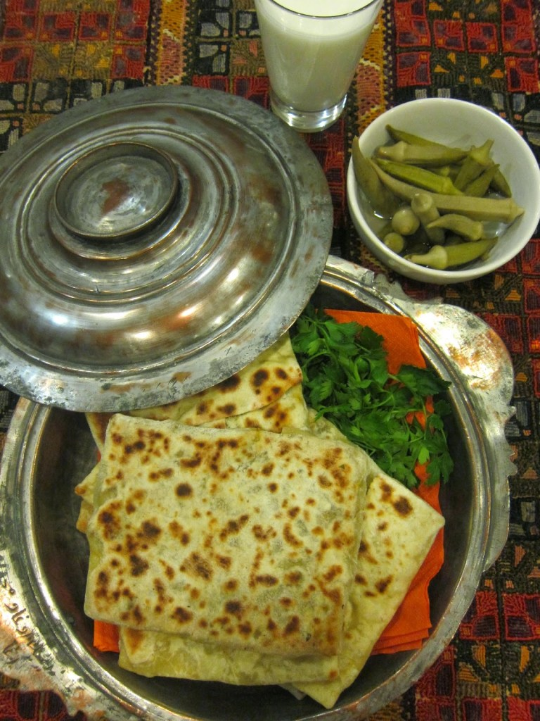 Turkish flat breads with a spicy savoury filling