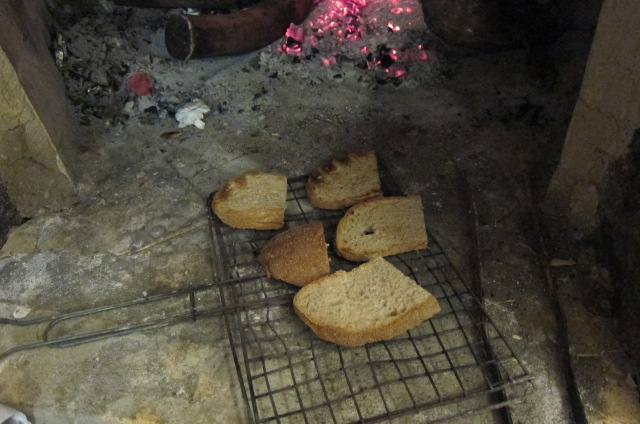 bread toasting in fire
